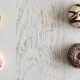 Donuts on White Wooden Background