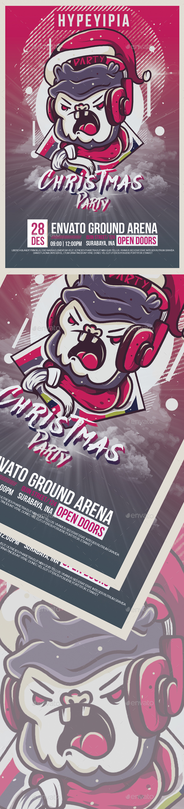 GraphicRiver Christmast Monkey Party Flyer 20872594