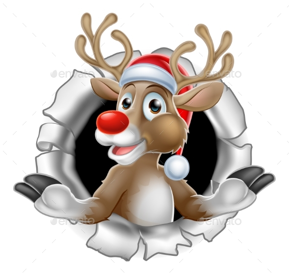 Santa Hat Reindeer Breaking Through Background - Christmas Seasons/Holidays