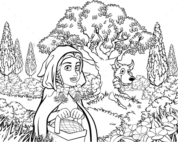Fairytale Little Red Riding Hood Coloring Scene - Backgrounds Decorative