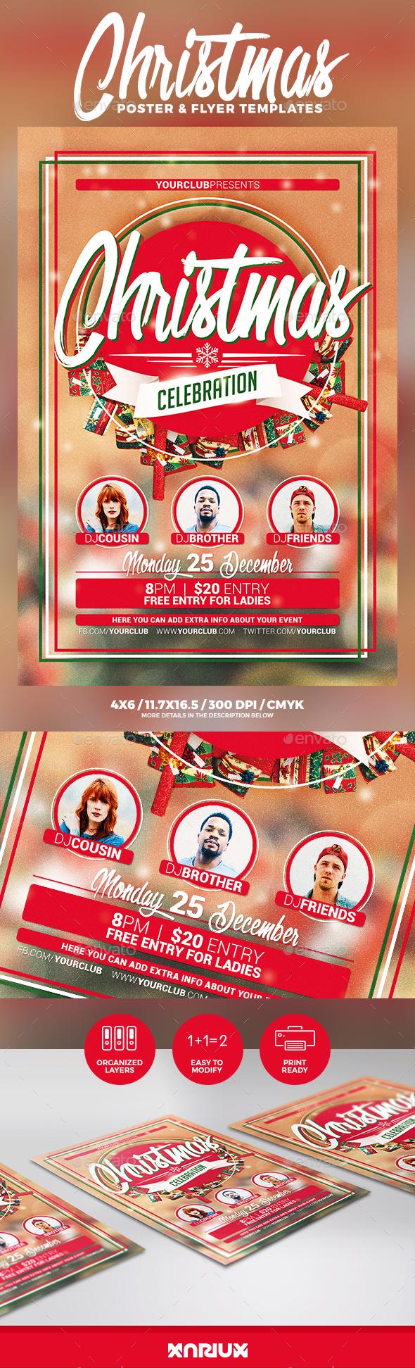 Christmas Celebration Flyer & Poster - Holidays Events