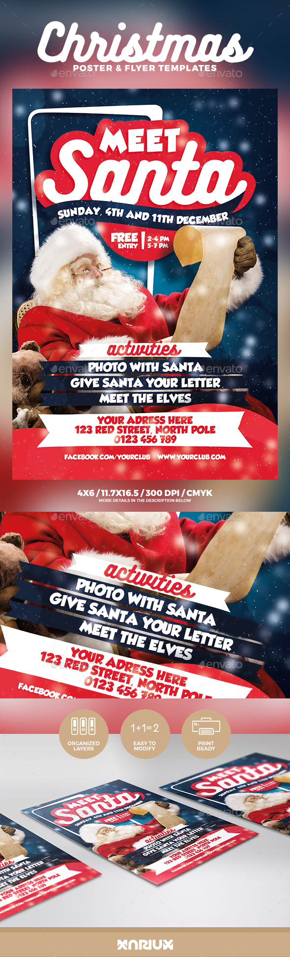 Meet Santa Flyer & Poster - Holidays Events