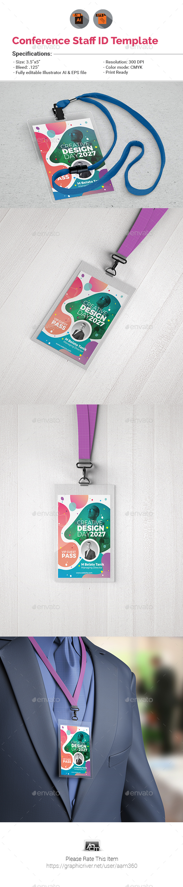 Event/Conference VIP Pass ID Template - Miscellaneous Print Templates