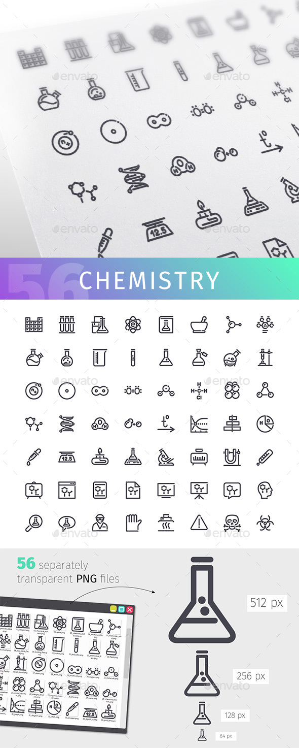 Chemistry Line Icons Set - Objects Icons