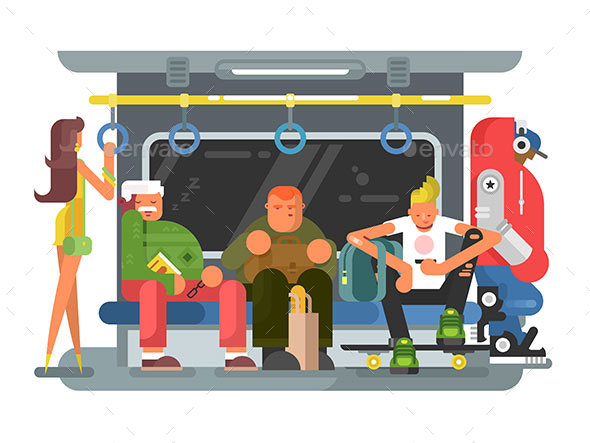 Subway with People Man and Woman Flat Design - Miscellaneous Vectors