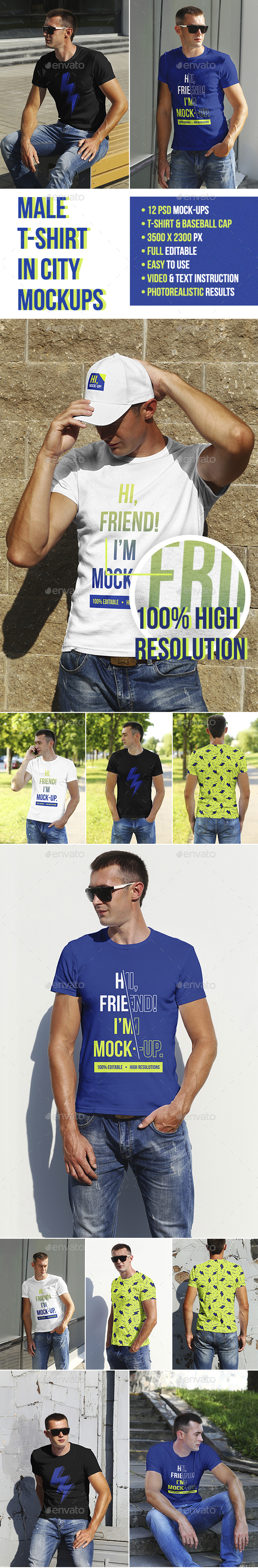 GraphicRiver Male T-Shirt in City Mockups 20873779