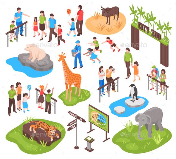 Isometric Zoo Set - Animals Characters