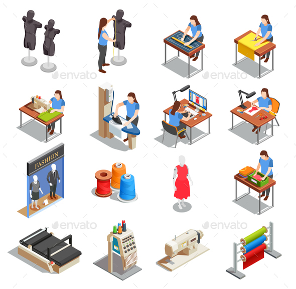 Sewing Factory Isometric Icons Set - Business Conceptual