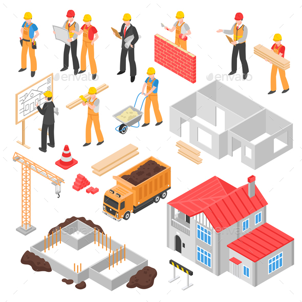 Construction Isometric Set - Industries Business