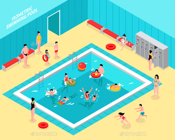 Family Pool Isometric Composition - People Characters