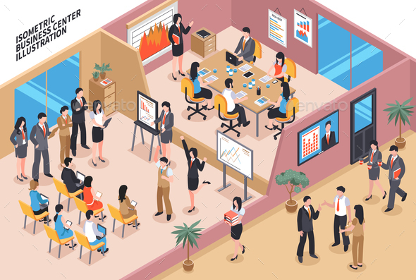 Business Center Isometric Composition - Buildings Objects