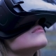 Beautiful Woman with Virtual Reality in Outdoor Park VR Headset Glasses Device Young Woman in a VR - VideoHive Item for Sale