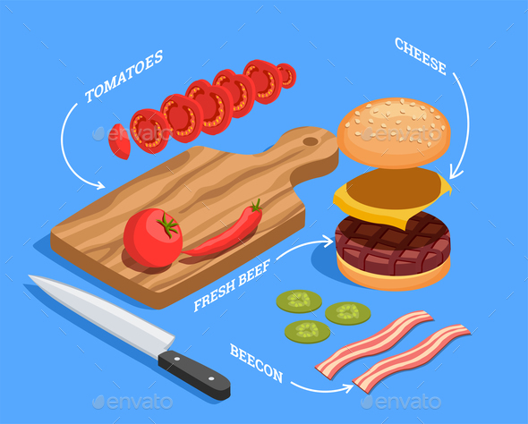 Preparing Cheeseburger Isometric Composition - Food Objects