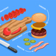Preparing Cheeseburger Isometric Composition