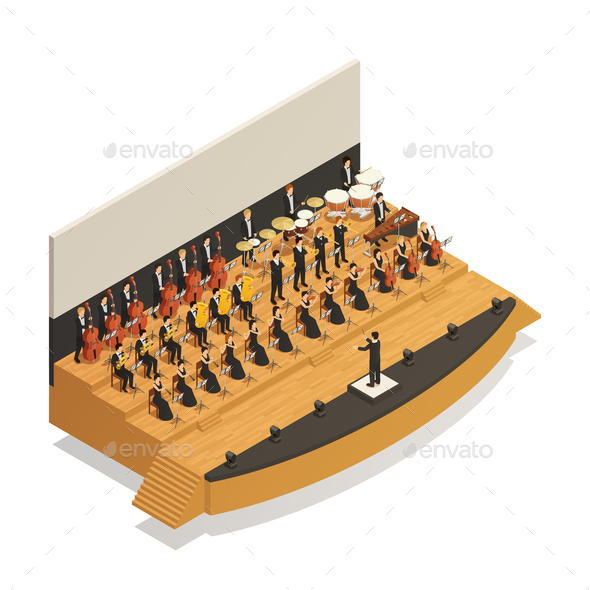 Orchestra Isometric Composition - People Characters
