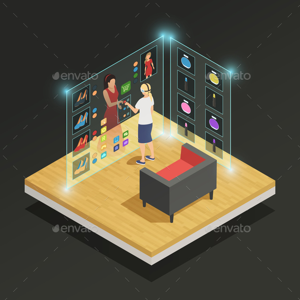 Augmented Reality Isometric Composition - Technology Conceptual
