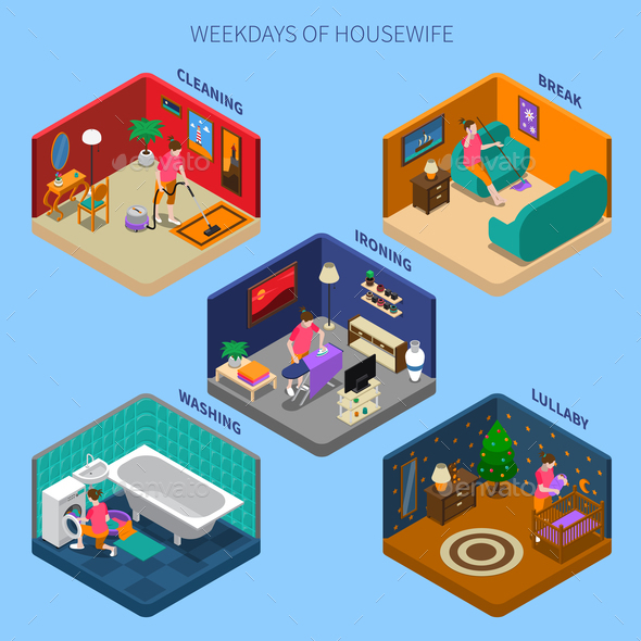 Weekdays Of Housewife Isometric Compositions - People Characters