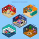 Weekdays Of Housewife Isometric Compositions