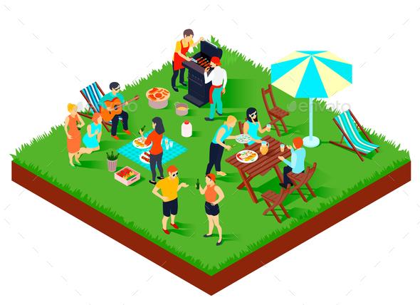 BBQ Picnic Isometric Illustration - Food Objects