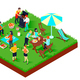 BBQ Picnic Isometric Illustration