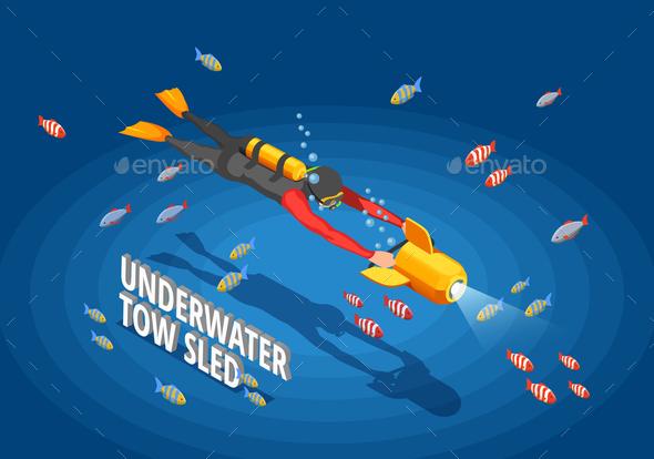 Scuba Diver Background Composition - Sports/Activity Conceptual