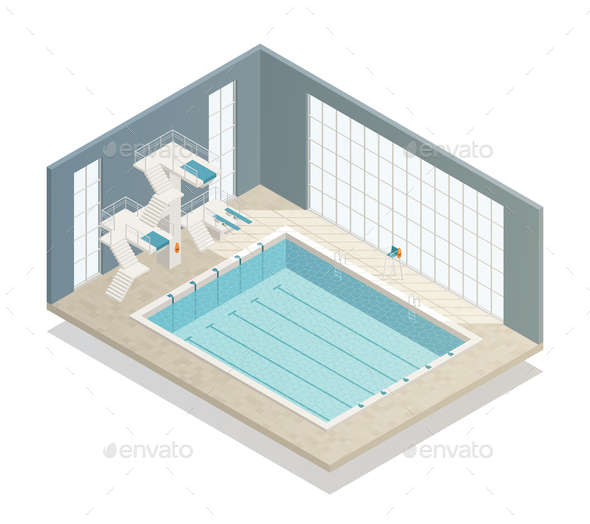 Swimming Pool Indoor Isometric Composition - Sports/Activity Conceptual