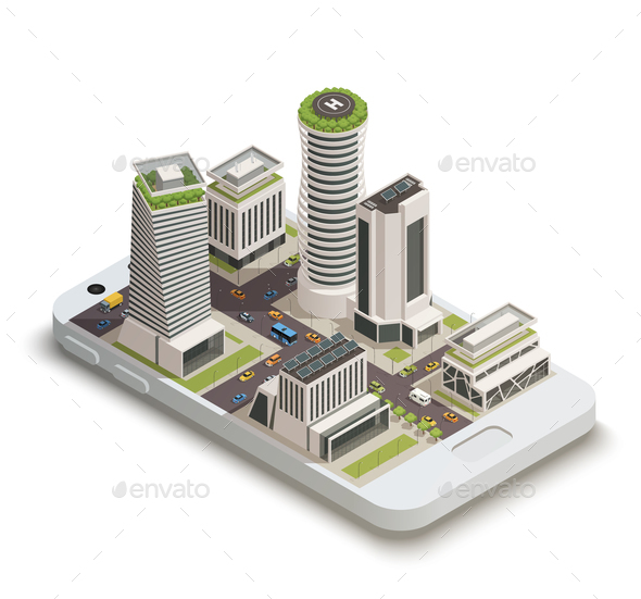 Smart City Center Isometric Composition - Buildings Objects