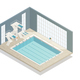 Swimming Pool Indoor Isometric Composition