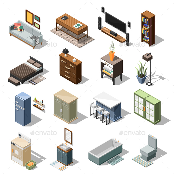 Isometric Apartment Furniture Set - Miscellaneous Vectors