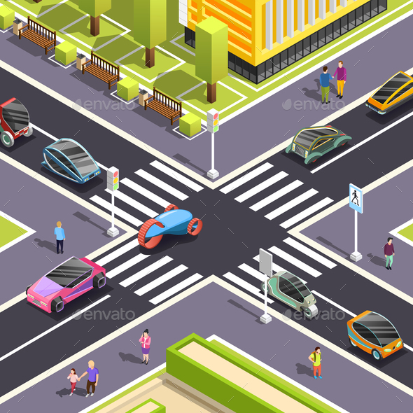 Future Transport Isometric Street Background - Miscellaneous Vectors