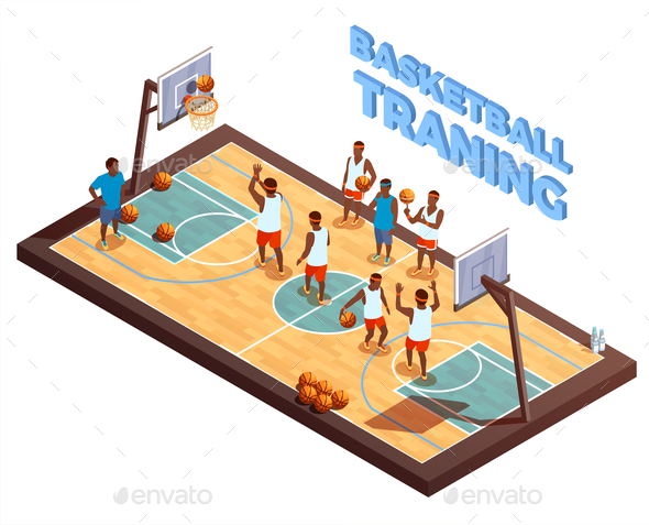 Training Basketball Isometric Composition - Sports/Activity Conceptual