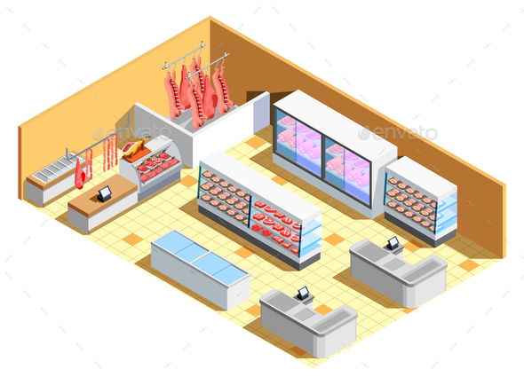 Butcher Shop Interior Isometric Composition - Food Objects