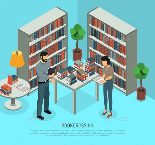 Bookcrossing In Library Composition - Miscellaneous Vectors
