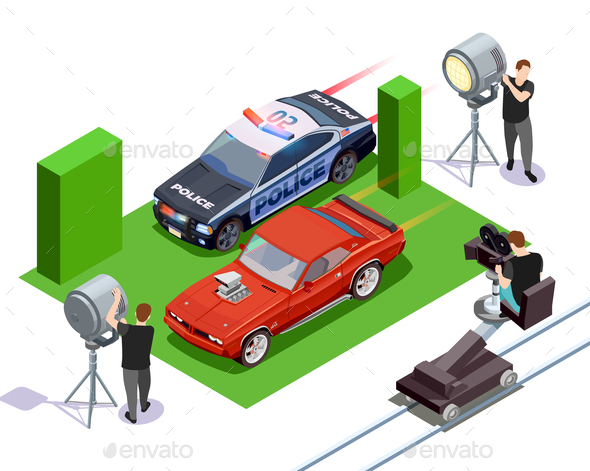 Cinematograph Isometric Composition - Industries Business