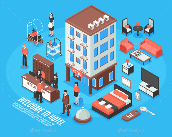 Isometric Hotel Icon Set - Buildings Objects