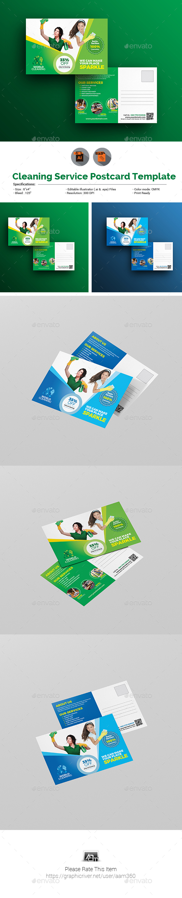 Cleaning Services Postcard Template - Cards & Invites Print Templates