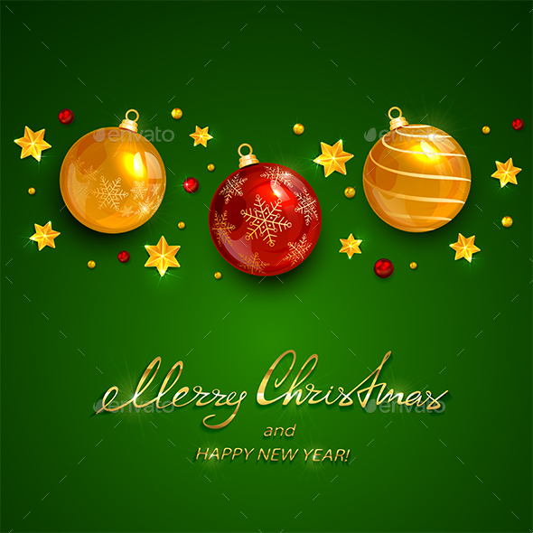 Christmas Balls and Stars with Holiday Lettering on Green Background