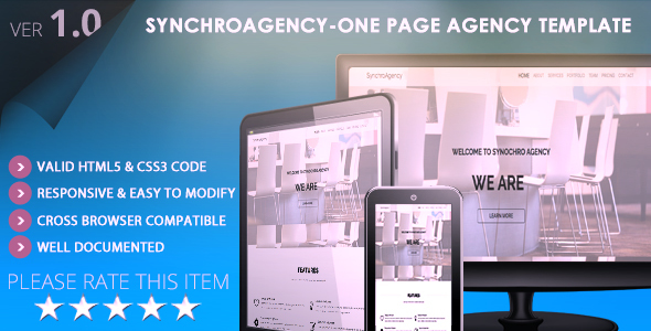 Image of SynchroAgency-One Page Agency & Portfolio Template