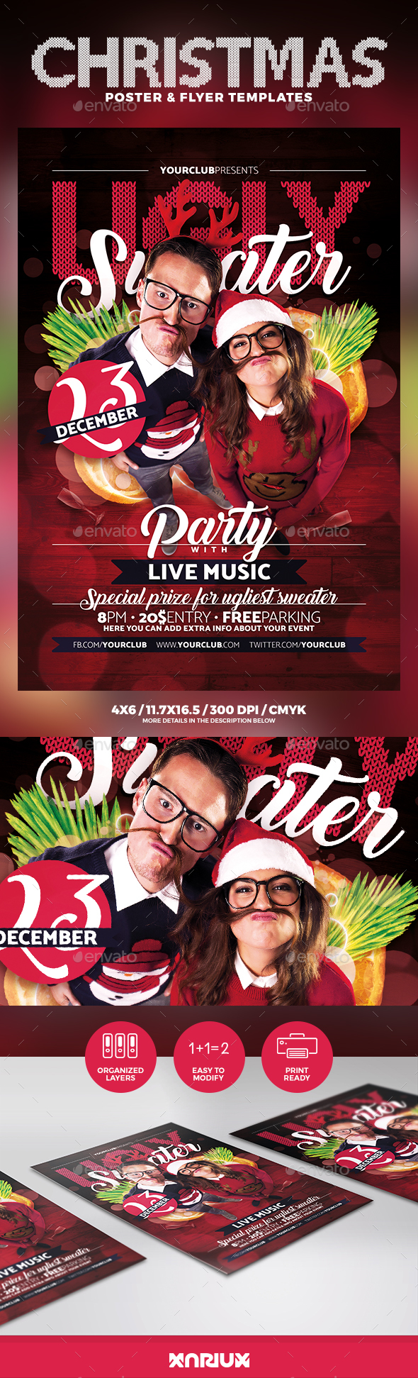 Ugly Sweater Party Flyer & Poster - Events Flyers