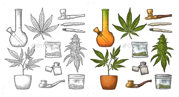 Set of Marijuana - Flowers & Plants Nature