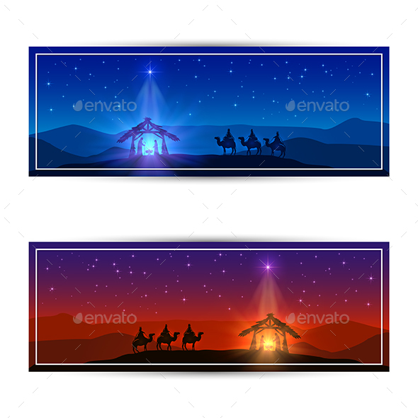 Two Christmas Cards with Star and Birth of Jesus - Religion Conceptual