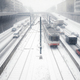 Snowy inner city car and tramway traffic - PhotoDune Item for Sale