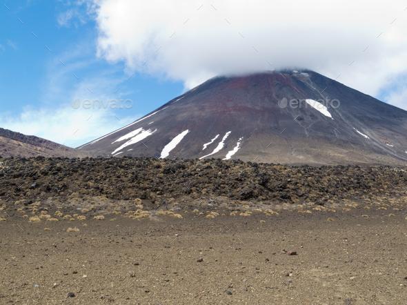Active volcano cone Mount Ngauruhoe New Zealand - Stock Photo - Images