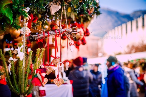 Christmas In Italy Decorations.Christmas Decorations On Trentino Alto Adige Italy Christmas Market