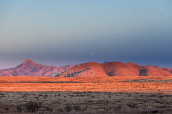Sunset light high desert landscape New Mexico US