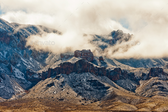 Winter Storm Snow Chisos Mountains Big Bend NP TX - Stock Photo - Images