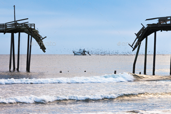 Fishing boat ocean scene Outer Banks OBX NC US - Stock Photo - Images