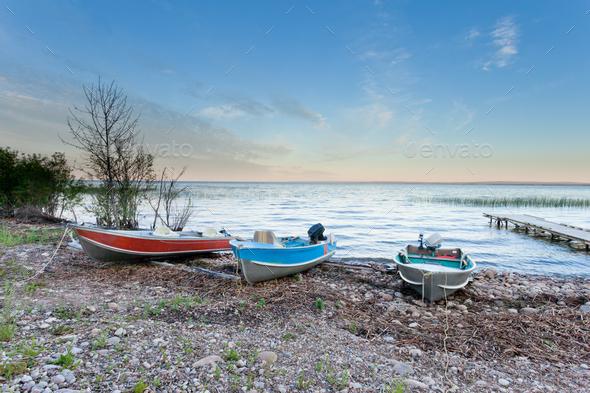 Peaceful landscape of Lesser Slave Lake AB Canada - Stock Photo - Images