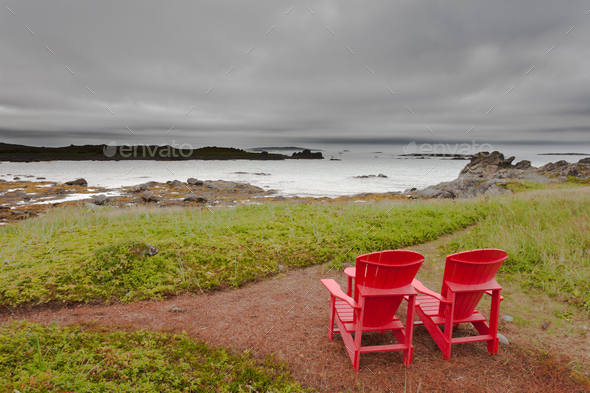 Relaxing great coastal landscape scenery NL Canada - Stock Photo - Images