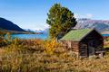 Log shack on Lake Bennet Yukon Territory YT Canada - PhotoDune Item for Sale
